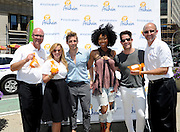 SoCal natives Brandy Norwood, center, Nate Berkus, second right, and Jeremiah Brent, center left, join the Visit Anaheim team Jay Burress, left, Tania Weinkle, second left, and Charles Harris, right, to celebrate the launch of #VisitAnaheim and the city's revitalization campaign, Wednesday, June 24, 2015, in New York.  Brought to life by renowned 3D street artist Joe Hill, Anaheim is home to some of California's most exciting attractions, entertainment and sports venues, theme parks and brew scene. To learn more go to www.visitanaheim.org.  (Photo by Diane Bondareff/Invision for Visit Anaheim/AP Images)