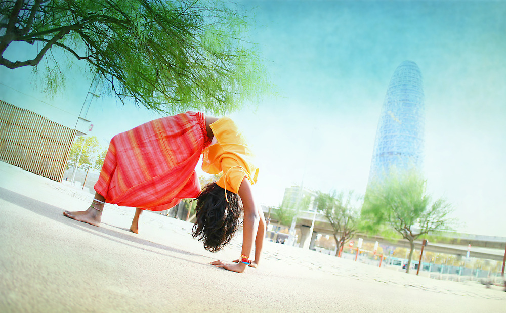 Noelina Castellsagué in front of Torre Agbar, Barcelona