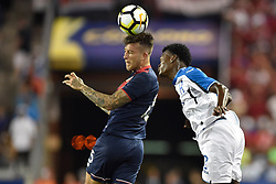 July 7, 2017 - Harrison, New Jersey, U.S - Costa Rica defender FRANCISCO CALVO (15) heads the ball away from Honduras defender FELIX CRISANTO (2) during CONCACAF Gold Cup 2017 action at Red Bull Arena in Harrison New Jersey Costa Rica defeats Honduras 1 to 0. (Credit Image: © Brooks Von Arx via ZUMA Wire)