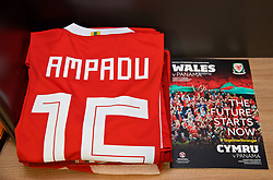 CARDIFF, WALES - Tuesday, November 14, 2017: The Wales shirt of Ethan Ampadu in the dressing room ahead of the international friendly match between Wales and Panama at the Cardiff City Stadium. (Pic by David Rawcliffe/Propaganda)