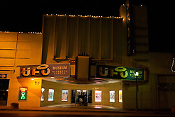Exterior of the UFO Museum and Research Center at night, Roswell, New Mexico, United States of America