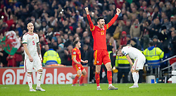 CARDIFF, WALES - Tuesday, November 19, 2019: Wales' Kieffer Moore celebrates after the final UEFA Euro 2020 Qualifying Group E match between Wales and Hungary at the Cardiff City Stadium where Wales won 2-0 and qualified for Euro 2020. (Pic by Laura Malkin/Propaganda)