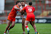 Bradford Bulls prop Jon Magrin (15) is tackled during the Kingstone Press Championship match between Sheffield Eagles and Bradford Bulls at, The Beaumont Legal Stadium, Wakefield, United Kingdom on 3 September 2017. Photo by Simon Davies.