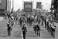 Manvers and Wath Main banners, 1985 Yorkshire Miner's Gala. Rotherham.