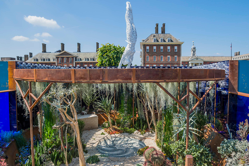 Focusing on palstic waste, The Pearlfisher Garden, Sponsor: Pearlfisher, Designer: John Warland, Contractor: The Garden Builders - The RHS Chelsea Flower Show at the Royal Hospital, Chelsea.