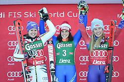 29.12.2017, Hochstein, Lienz, AUT, FIS Weltcup Ski Alpin, Lienz, Riesenslalom, Damen, Siegerehrung, im Bild v.l. Viktoria Rebensburg (GER, 2. Platz), Siegerin Federica Brigione (ITA), Mikaela Shiffrin (USA, 3. Platz) // f.l.t.r. second placed Viktoria Rebensburg of Germany winner Federica Brigione of Italy third placed Mikaela Shiffrin of the USA during the winner Ceremony for the ladie's Giant Slalom of FIS Ski Alpine World Cup at the Hochstein in Lienz, Austria on 2017/12/29. EXPA Pictures © 2017, PhotoCredit: EXPA/ Erich Spiess