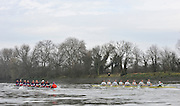 Putney, GREAT BRITAIN,  Cambridge [right] Both crews in the opening strokes of the pre race fixture, 2010  Varsity, Cambridge University  vs CZE National M8+, raced over the championship course. [reversed] Chiswick to Putney,  Wednesday,  24/03/2010 . [Mandatory Credit, Peter Spurrier/Intersport-images]