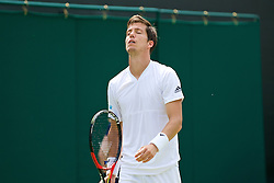 LONDON, ENGLAND - Tuesday, June 28, 2016: Aljaz Bedene (GBR) looks dejected during the Gentlemen's Singles 1st Round match on day two of the Wimbledon Lawn Tennis Championships at the All England Lawn Tennis and Croquet Club. (Pic by Kirsten Holst/Propaganda)