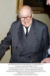 SIR DENIS MAHON the art historian, at a reception in London on 2nd April 2003.<br />