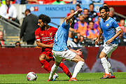 Liverpool striker Mohamed Salah (11) on the ball during the FA Community Shield match between Manchester City and Liverpool at Wembley Stadium, London, England on 4 August 2019.