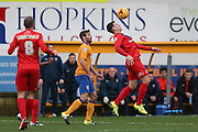 York City midfielder James Barrett  controls the ball during the Sky Bet League 2 match between Mansfield Town and York City at the One Call Stadium, Mansfield, England on 28 December 2015. Photo by Simon Davies.