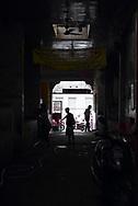 Men working at an urban cow stockyard in Amritsar