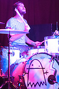 Jukebox the Ghost drummer Jesse Kristin performs at Water Street Music Hall in Rochester, New York on December 11, 2010.