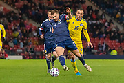 Scotland's James Forrest (Celtic) gets to the ball ahead of Gafurzhan Suyumbaev (#16) of Kazakhstan during the UEFA European 2020 Qualifier match between Scotland and Kazakhstan at Hampden Park, Glasgow, United Kingdom on 19 November 2019.