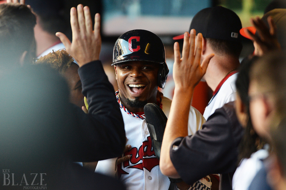 Sep 4, 2016; Cleveland, OH, USA; Cleveland Indians Rajai Davis (20) celebrates after scoring during the seventh inning against the Miami Marlins at Progressive Field. Mandatory Credit: Ken Blaze-USA TODAY Sports