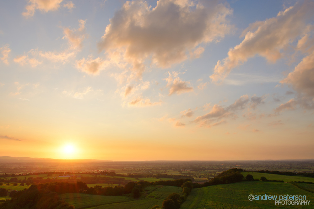 Golden sunset across Cheshire countryside