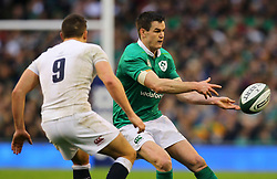 Jonathan Sexton of Ireland in action against Ben Youngs of England - Mandatory by-line: Ken Sutton/JMP - 18/03/2017 - RUGBY - Aviva Stadium - Dublin,  - Ireland v England - RBS 6 Nations