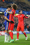 Diego Costa of Chelsea and David Luiz of Paris Saint-Germain come head to head during the UEFA Champions League match at Stamford Bridge, London<br /> Picture by David Horn/Focus Images Ltd +44 7545 970036<br /> 11/03/2015