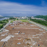 New construction project underway near Berkley Riverfront Park along the Missouri River, immediately northeast of downtown Kansas City, Missouri.