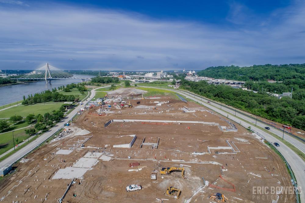 New construction project underway near Berkley Riverfront Park along the Missouri River, immediately northeast of downtown Kansas City, Missouri.