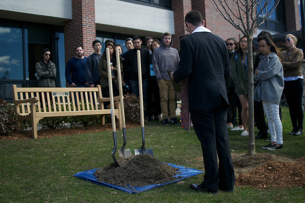 4/11/15 – Medford/Somerville, MA – Reverend Greg McGonigle dedicates a tree and bench in Julia and Griffin Lee's honor on Saturday, Apr. 11, 2015. (Sofie Hecht / The Tufts Daily)