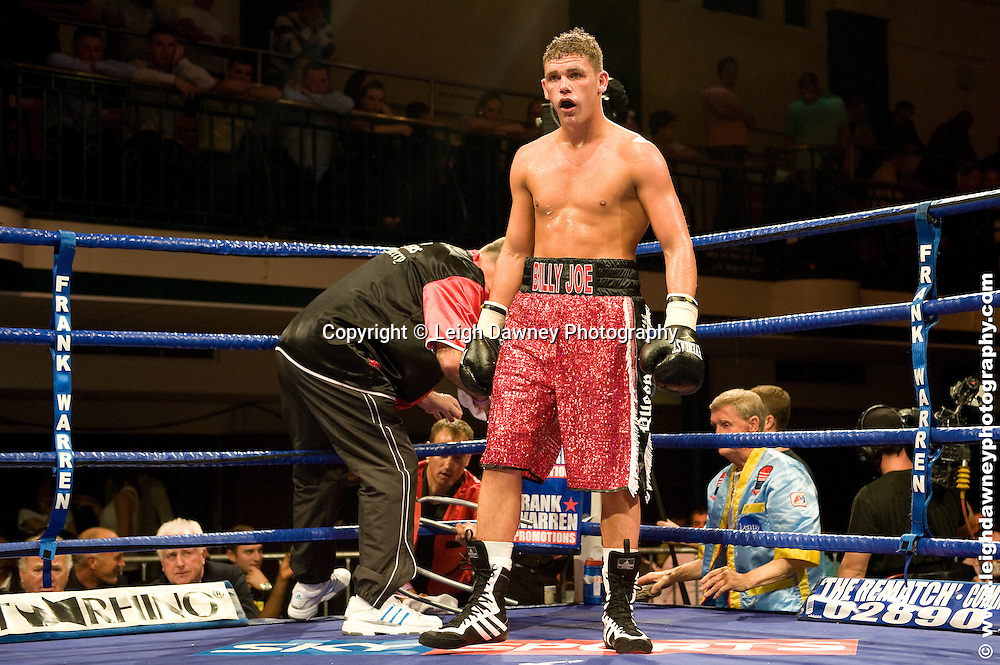 Billy Joe Saunders (pictured) defeats Alex Spitko at York Hall, Bethnal Green 9th ocotber 2009. Frank Warren Promotions.Credit: ©Leigh Dawney Photography