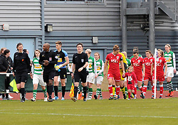Players and officials make their way on to the pitch at Stoke Gifford Stadium  - Mandatory by-line: Paul Knight/JMP - Mobile: 07966 386802 - 28/02/2016 -  FOOTBALL - Stoke Gifford Stadium - Bristol, England -  Bristol City Women v Yeovil Town Ladies - FA Cup fourth round