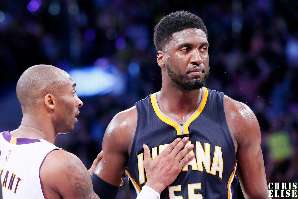 04 January 2014: Los Angeles Lakers guard Kobe Bryant (24) cheers Indiana Pacers center Roy Hibbert (55) at the end of the Los Angeles Lakers 88-87 victory over the Indiana Pacers, at the Staples Center, Los Angeles, California, USA.