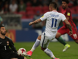 June 28, 2017 - Kazan, Russia - Eduardo Vargas of the Chile national football team vie for the ball during the 2017 FIFA Confederations Cup match, semi-finals between Portugal and Chile at Kazan Arena on June 28, 2017 in Kazan, Russia. (Credit Image: © Igor Russak/NurPhoto via ZUMA Press)