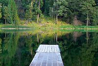 Boat dock on Black Pine Lake North Cascades Washington USA