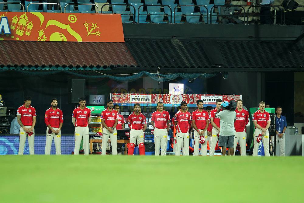 Team Kings XI Punjab offering tribute to the victims of earthquake during match 24 of the Pepsi IPL 2015 (Indian Premier League) between The Chennai Superkings and The Kings XI Punjab held at the M. A. Chidambaram Stadium, Chennai Stadium in Chennai, India on the 25th April 2015.Photo by:  Prashant Bhoot / SPORTZPICS / IPL