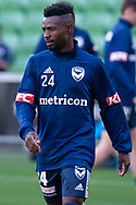 SYDNEY, NSW - JANUARY 12: Melbourne Victory midfielder Elvis Kamsoba (24) looks on during warm up at the Hyundai A-League Round 13 soccer match between Melbourne Victory and Newcastle Jets at AAMI Park in VIC, Australia 12 January 2019. (Photo by Speed Media/Icon Sportswire)