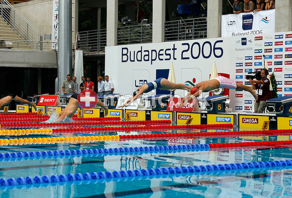 Participant of the second heat start in the Omega Trophy for Journalists at the 28th LEN European Swimming Championships in Budapest, Hungary, Saturday, August 5, 2006. (Photo by Patrick B. Kraemer / MAGICPBK for Omega)