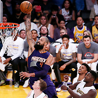 06 November 2016: Phoenix Suns center Tyson Chandler (4) goes for the dunk over Los Angeles Lakers center Timofey Mozgov (20) during the LA Lakers 119-108 victory over the Phoenix Suns, at the Staples Center, Los Angeles, California, USA.