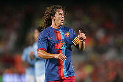 Carlos Puyol in action during the Joan Gamper Trophy match between Barcelona and Manchester City at the Camp Nou Stadium on August 19, 2009 in Barcelona, Spain. Manchester City won the match 1-0.