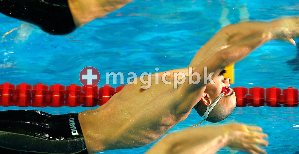 Laszlo CSEH of Hungary competes in the heats of the men's 100m Backstroke, during the European Swimming Short Course Championships on December 9, 2005, in Trieste, Italy. (Photo by Patrick B. Kraemer/MAGICPBK)