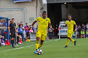 Luis Diaz #18 of the Columbus Crew moves the ball upfield during a MLS soccer game, Sunday, Aug 25th, 2019, in Cincinnati, OH. (Jason Whitman/Image of Sport)