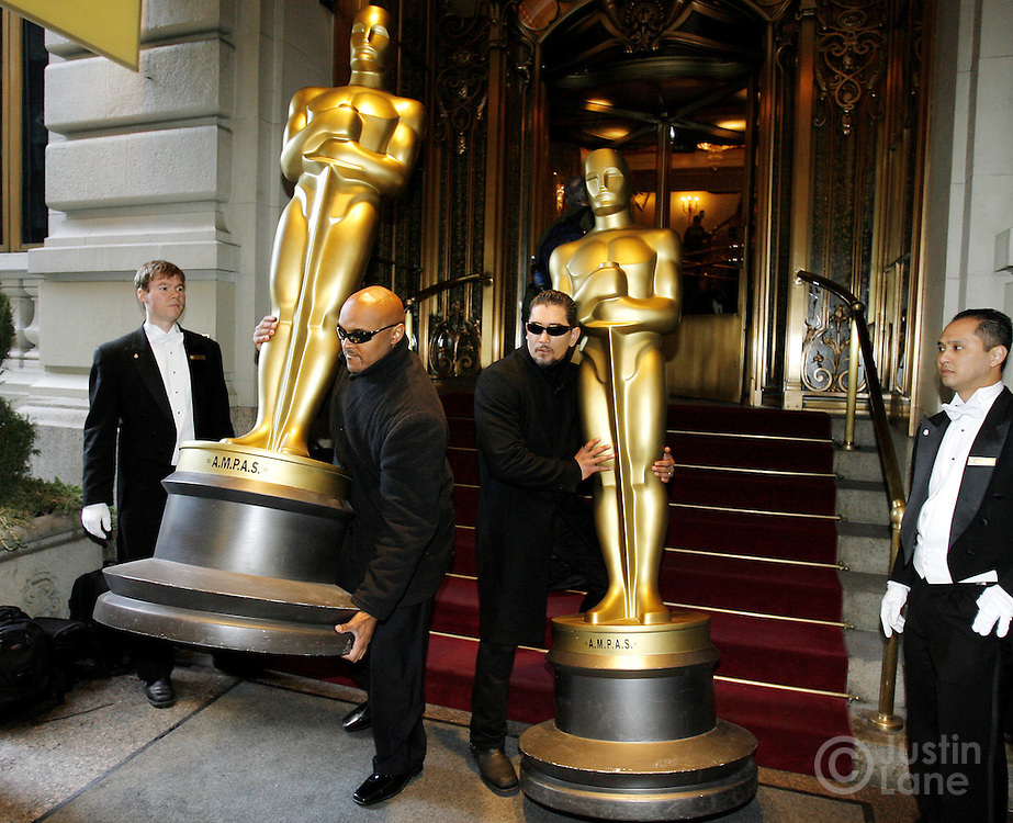 Two 8-foot Oscar statues are delivered to the St. Regis Hotel in New York, New York on Wednesday 21 February 2007. The two statues arrived as part the preparation for the  official New York Oscar night celebration which is being held at the hotel.