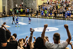 Players and fans of Slovenia celebrate during handball match between National teams of Slovenia and Hungary in play off of 2015 Men's World Championship Qualifications on June 15, 2014 in Rdeca dvorana, Velenje, Slovenia. Photo by Urban Urbanc / Sportida