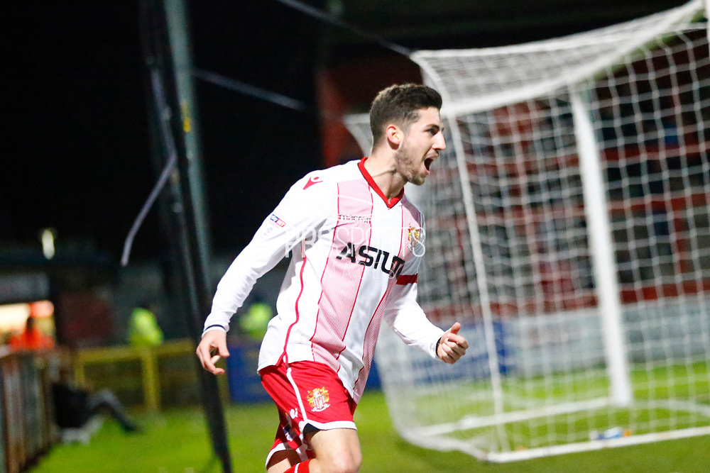 Stevenage's midfielder Tom Pett celebrates his goal during the EFL Sky Bet League 2 match between Stevenage and Coventry City at the Lamex Stadium, Stevenage, England on 21 November 2017. Photo by Matt Bristow.
