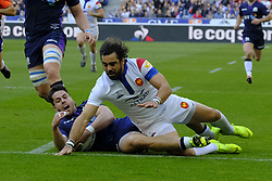 February 23, 2019 - Saint Denis, Seine Saint Denis, France - The Wing of French Team YOANN HUGUET in action during the Guinness Six Nations Rugby tournament between France and Scotland at the Stade de France - St Denis - France..France won 27-10 (Credit Image: © Pierre Stevenin/ZUMA Wire)