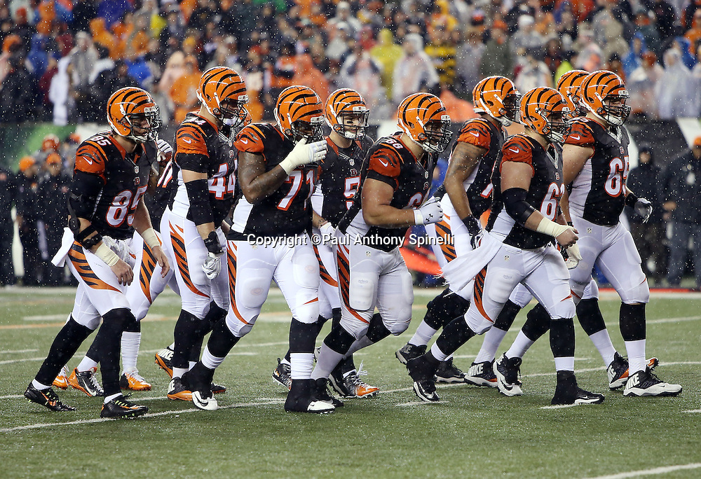 The Cincinnati Bengals offense breaks from the huddle and heads to the line of scrimmage during the NFL AFC Wild Card playoff football game against the Pittsburgh Steelers on Saturday, Jan. 9, 2016 in Cincinnati. The Steelers won the game 18-16. (©Paul Anthony Spinelli)