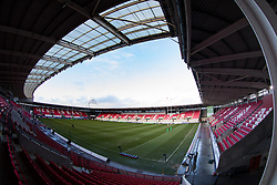 A general view of Parc Y Scarlets, home of Scarlets<br /> <br /> Photographer Simon King/Replay Images<br /> <br /> European Rugby Champions Cup Round 6 - Scarlets v Toulon - Saturday 20th January 2018 - Parc Y Scarlets - Llanelli<br /> <br /> World Copyright © Replay Images . All rights reserved. info@replayimages.co.uk - http://replayimages.co.uk