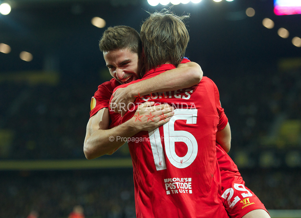 BERNE, SWITZERLAND - Thursday, September 20, 2012: Liverpool's Fabio Borini celebrates after he and Sebastian Coates combined to  score the third goal against BSC Young Boys during the UEFA Europa League Group A match at the Wankdorf Stadion. (Pic by David Rawcliffe/Propaganda)