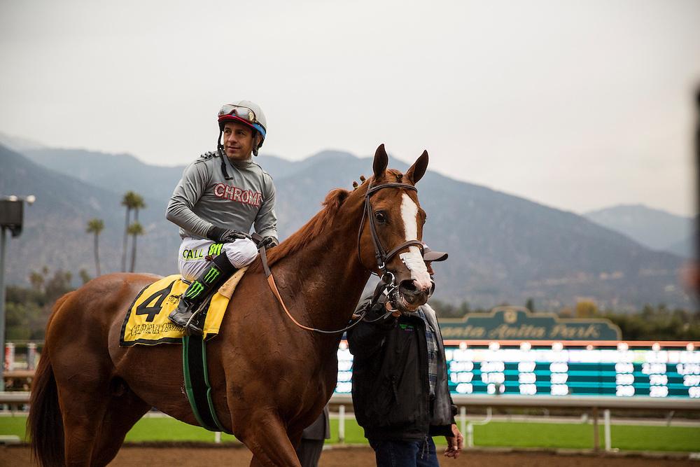 January 09, 2016: California Chrome and Victor Espinoza win the San Pasqual Stakes at Santa Anita Park, Arcadia CA. Evers/ESW/CSM