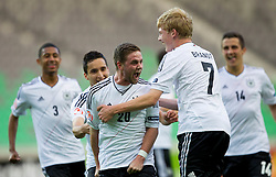 Scorer of first goal Marc Stendera of Germany and Julian Brandt of Germany celebrate during the UEFA European Under-17 Championship Group A match between Iceland and Germany on May 7, 2012 in SRC Stozice, Ljubljana, Slovenia. (Photo by Vid Ponikvar / Sportida.com)