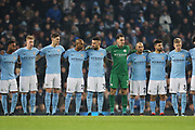 A minutes clapping before the start of the game during the Premier League match between Manchester City and Newcastle United at the Etihad Stadium, Manchester, England on 20 January 2018. Photo by George Franks.