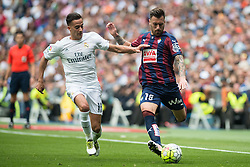 09.04.2016, Estadio Santiago Bernabeu, Madrid, ESP, Primera Division, Real Madrid vs SD Eibar, 32. Runde, im Bild Real Madrid's Lucas Vazquez and Sociedad Deportiva Eibar's Antonio Luna // during the Spanish Primera Division 32th round match between Real Madrid and SD Eibar at the Estadio Santiago Bernabeu in Madrid, Spain on 2016/04/09. EXPA Pictures © 2016, PhotoCredit: EXPA/ Alterphotos/ Borja B.Hojas<br /> <br /> *****ATTENTION - OUT of ESP, SUI*****