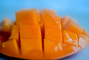 Ready to eat, cut, Flat lay mango tropical fruit