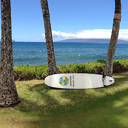 Surfboard at Puamana (Panorama), Lahaina, Maui, Hawaii, US